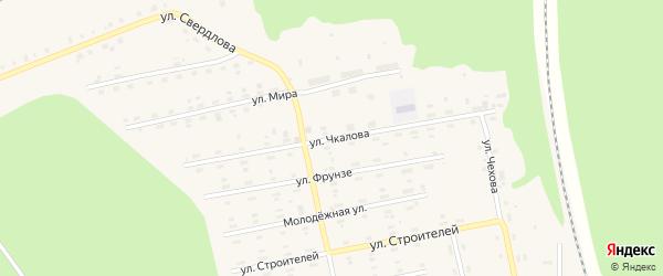Улица Чкалова на карте поселка Лобва Свердловской области с номерами домов