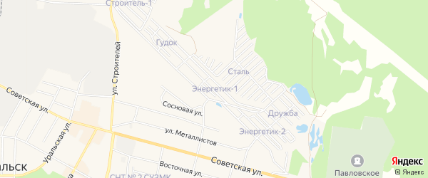Садовое товарищество Энергетик-1 на карте Среднеуральска с номерами домов
