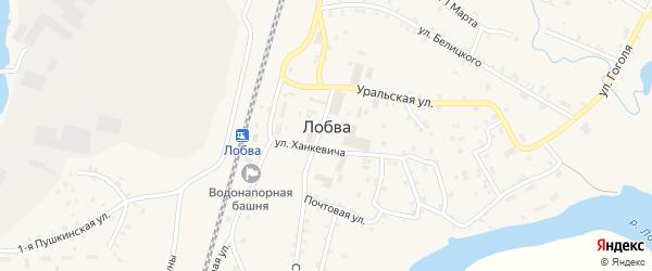 Комсомольская улица на карте поселка Лобва Свердловской области с номерами домов