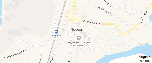 1-я Пушкинская улица на карте поселка Лобва Свердловской области с номерами домов