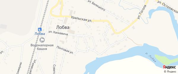Улица Менжинского на карте поселка Лобва Свердловской области с номерами домов