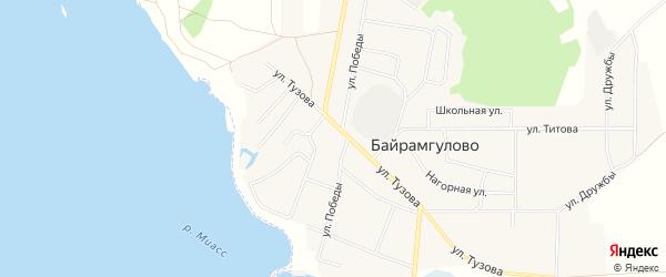 Карта села Байрамгулово в Челябинской области с улицами и номерами домов