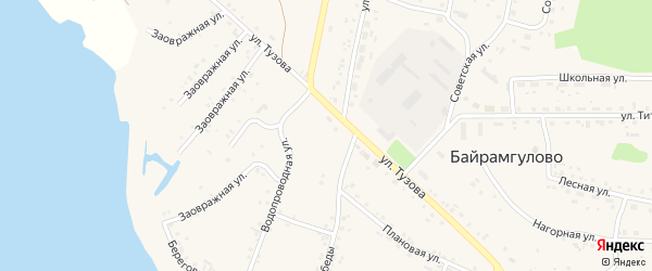 Береговая улица на карте села Байрамгулово с номерами домов