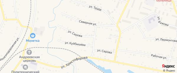 Улица Серова на карте поселка Лобва Свердловской области с номерами домов