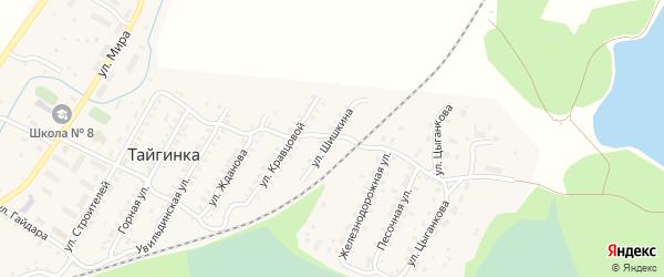 Улица Шишкина на карте поселка Тайгинки с номерами домов