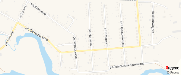 Улица Чапаева на карте поселка Лобва Свердловской области с номерами домов
