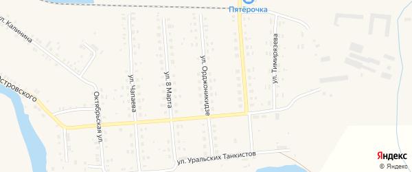 Улица Орджоникидзе на карте поселка Лобва Свердловской области с номерами домов