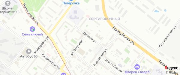 Таежная улица на карте Екатеринбурга с номерами домов
