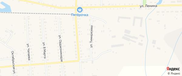 Улица Тимирязева на карте поселка Лобва Свердловской области с номерами домов