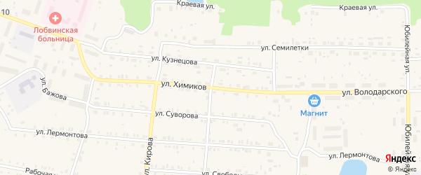 Улица Химиков на карте поселка Лобва Свердловской области с номерами домов