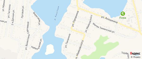 Улица Папанина на карте Кыштыма с номерами домов