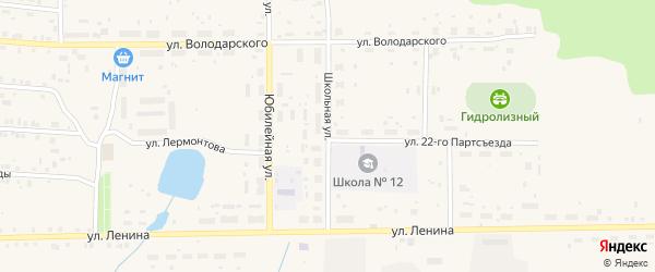Школьная улица на карте поселка Лобва Свердловской области с номерами домов
