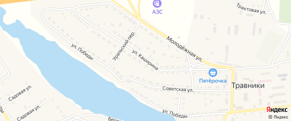 Улица Каширина на карте села Травники с номерами домов