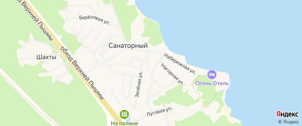 Карта Санаторного поселка города Верхней Пышмы в Свердловской области с улицами и номерами домов