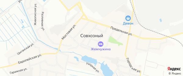Карта Совхозного поселка города Екатеринбурга в Свердловской области с улицами и номерами домов