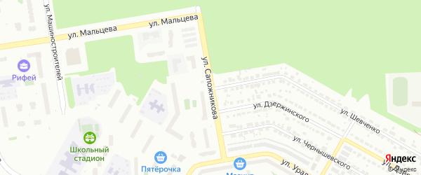 Улица Сапожникова на карте Верхней Пышмы с номерами домов