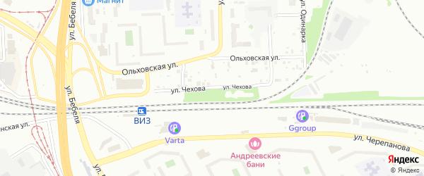 Улица Чехова на карте Екатеринбурга с номерами домов