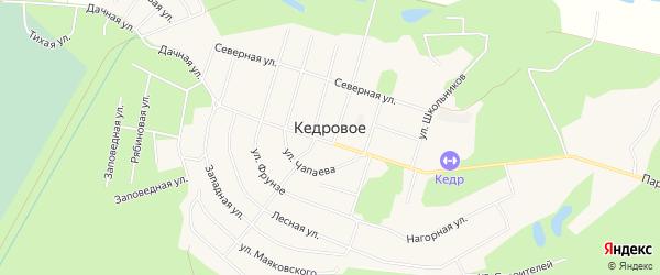 Карта поселка Кедрового города Верхней Пышмы в Свердловской области с улицами и номерами домов