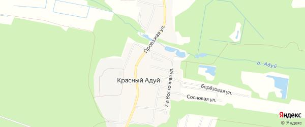 Карта поселка Красного Адуя города Верхней Пышмы в Свердловской области с улицами и номерами домов