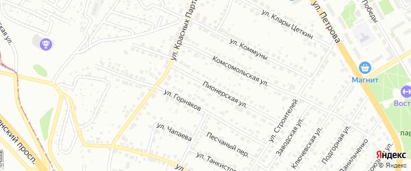 Пионерская улица на карте Верхней Пышмы с номерами домов