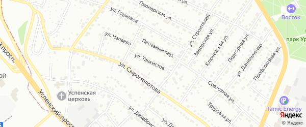 Улица Танкистов на карте Верхней Пышмы с номерами домов