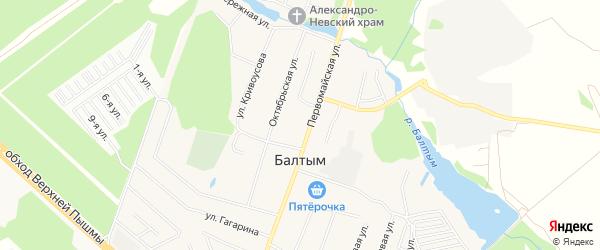 Карта села Балтыма города Верхней Пышмы в Свердловской области с улицами и номерами домов