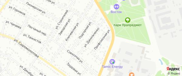 Улица Данильченко на карте Верхней Пышмы с номерами домов