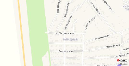 Улица Энтузиастов в Карталы с номерами домов на карте. Спутник и схема онлайн