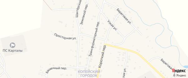 Трансформаторный переулок на карте Карталы с номерами домов