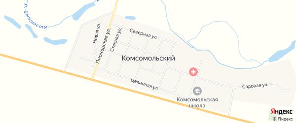 Карта Комсомольского поселка в Челябинской области с улицами и номерами домов