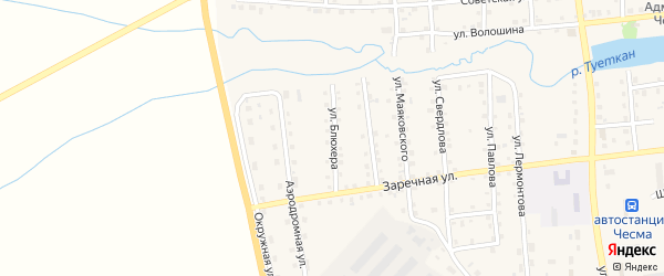 Улица Блюхера на карте села Чесмы Челябинской области с номерами домов