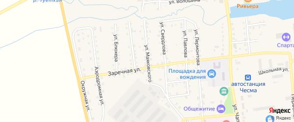Улица Маяковского на карте села Чесмы Челябинской области с номерами домов
