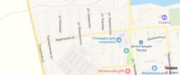 Улица Свердлова на карте села Чесмы Челябинской области с номерами домов