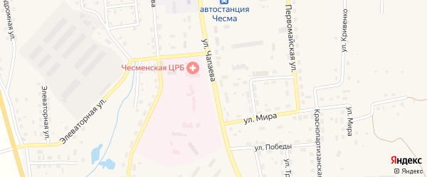 Улица Чапаева на карте села Чесмы с номерами домов