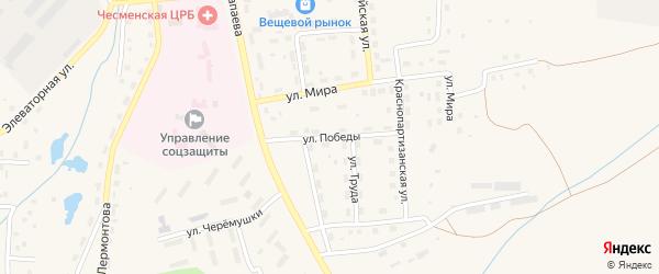 Улица Победы на карте села Чесмы Челябинской области с номерами домов
