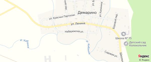 Набережная улица на карте села Демарино Челябинской области с номерами домов