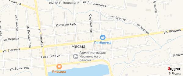 Садовый переулок на карте села Чесмы Челябинской области с номерами домов