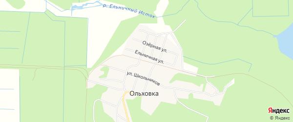 Карта поселка Ольховки города Верхней Пышмы в Свердловской области с улицами и номерами домов
