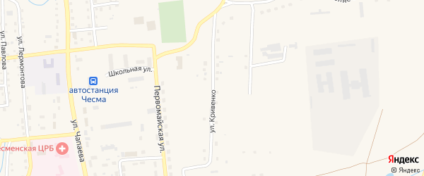 Улица Ф.П.Кривенко на карте села Чесмы Челябинской области с номерами домов
