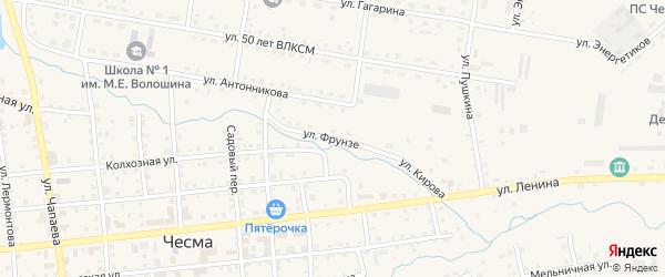 Улица Фрунзе на карте села Чесмы с номерами домов