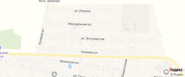 Улица Энтузиастов на карте села Чесмы Челябинской области с номерами домов