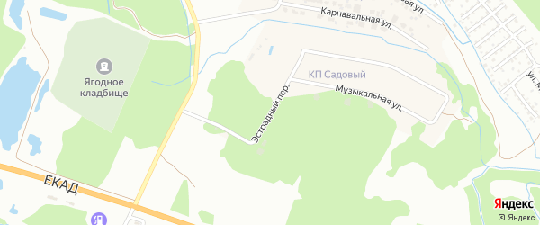 Эстрадный переулок на карте Садового поселка с номерами домов