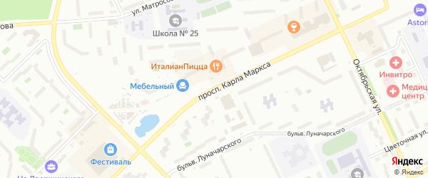 Проспект Карла Маркса на карте Озерска с номерами домов