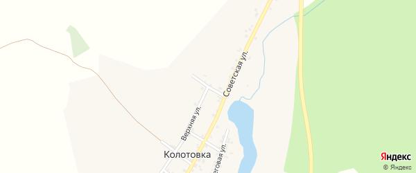Островной переулок на карте деревни Колотовки Челябинской области с номерами домов