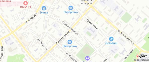 Строительная улица на карте Озерска с номерами домов