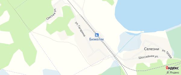 Карта поселка Бижеляка города Озерска в Челябинской области с улицами и номерами домов