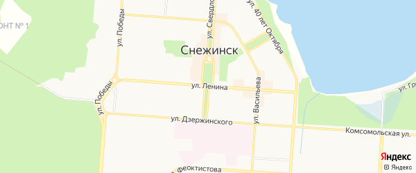 Территория кооператив Дрек на карте Снежинска с номерами домов