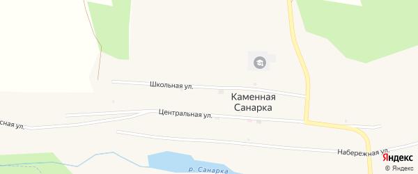 Школьная улица на карте поселка Каменной Санарки с номерами домов