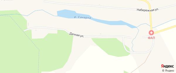 Дачная улица на карте поселка Каменной Санарки Челябинской области с номерами домов