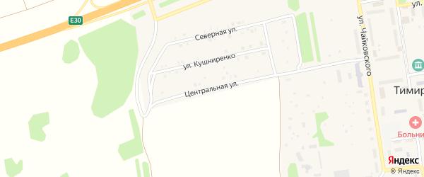 Центральная улица на карте Тимирязевского поселка Челябинской области с номерами домов